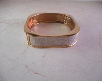 Gold Clamper Bracelet Square Shaped with Sparkles ,Hinged Cuff Bracelet
