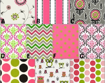 Custom Crib Bedding and Nursery Decor / Design Your Own / Crib Bumper, Skirt and Sheet / Premier Prints / Black / Candy Pink / Chartreuse