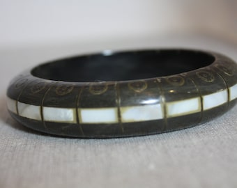 Horn, Brass and MOP bangle