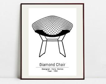 Diamond Chair Poster - Black and White Art Print - Digital Download Art Print