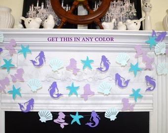 Mermaid garland, Starfish and Seashell garland, Under the sea party decorations,  seashell garland, mermaid garland, mermaid party decor