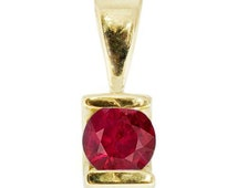 Ruby necklace-Yellow Gold Pendant 14 K-Gold Ruby Pendant-Women Jewelry- anniversary gift-for here-gift idea-Ruby Solitaire pendant-red stone