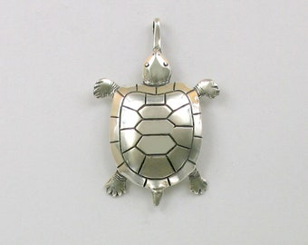 Sterling Silver 39mm Turtle Pendant