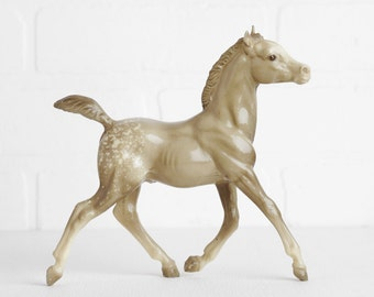 Vintage Breyer 1970s Glossy Gray Appaloosa Running Foal, Traditional Size Breyer Horsed Breyer Model Horse, Toy Horse Figurine