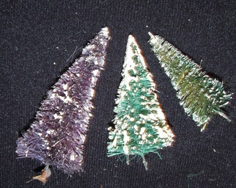 """Lot of 3 Vintage Miniature Christmas Sisal Bottle Brush Trees Without Bases For Crafts Flocked Greens and Purple 3.5"""" to 2.5"""""""