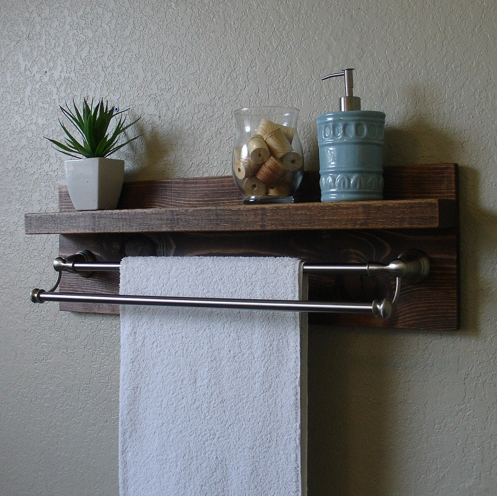 modern rustic bathroom shelf with 24 brushed nickel by. Black Bedroom Furniture Sets. Home Design Ideas