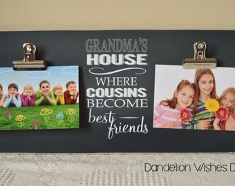 Wall Frame Gift For Grandma, Mother's Day Gift, Personalized Photo Frame  {Grandma's House... Cousins Become Best Friends}  Grandparents Day