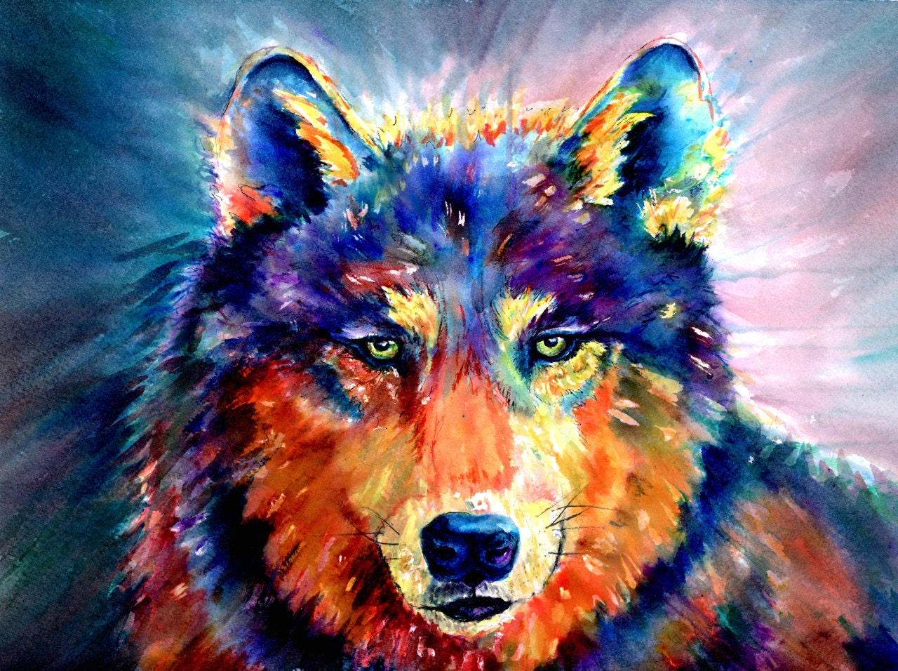 The Fierce Colorful Wolf Watercolor Painting by ... Colorful Wolf Painting