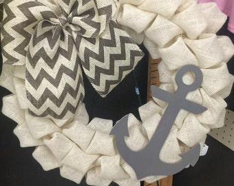 Anchor Burlap Wreath