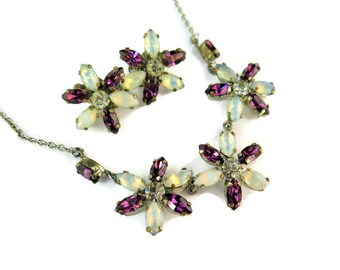 Vintage Flower Necklace And Clip on Earrings With Flowers And Opaline Beads, 1950's Demi-Parure