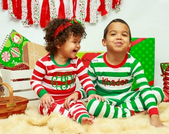 Christmas pajamas red and white stripe green trim boy or girl monogram personalized set
