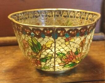 Decorative Chinese Bowl Cloisonne Plique a Jour Vintage Home Decor 2 Inch Floral Pattern Asian Bowl