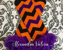 HALLOWEEN LEG WARMERS, baby leg warmers,  chevron print leg warmers, girls leg warmers, chiffon ruffle leg warmers, orange, black & purple