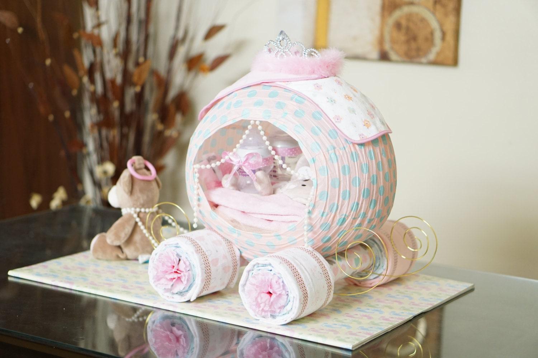cinderella princess carriage diaper cake baby shower diaper. Black Bedroom Furniture Sets. Home Design Ideas