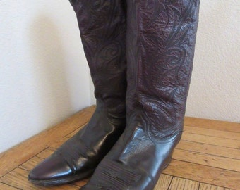 Vintage Womens Burgundy Leather Cowboy Boots MADE In USA - UK Size 5.5