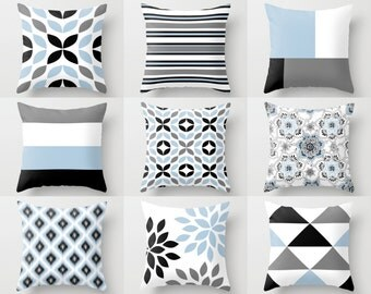 Throw Pillow Covers Black White Grey Light Blue (M18) Decorative Pillows