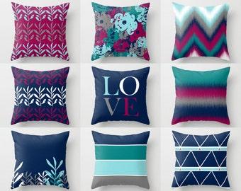 Throw Pillow Covers,  Fuchsia Navy Teal Aqua Grey White , Mix and Match! Decorative Pillows