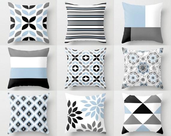 Throw Pillow Covers Black White Grey Light Blue M18