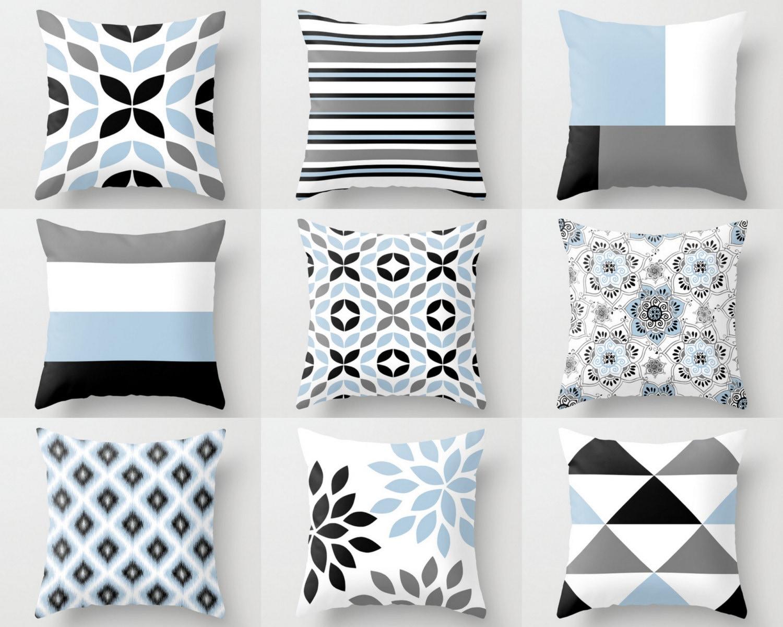 throw pillow covers black white grey light blue m18. Black Bedroom Furniture Sets. Home Design Ideas