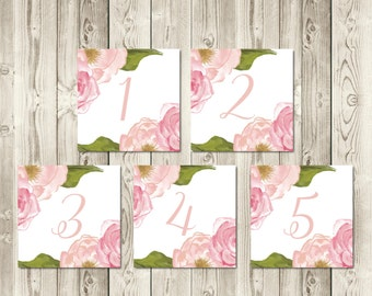 Blush Peony Table Numbers 1-10