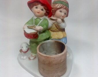 Vintage Jasco Christmas Luvkins Drummer Boy Shepard Lamb Sheep Candle Holder Candleholder Figurine