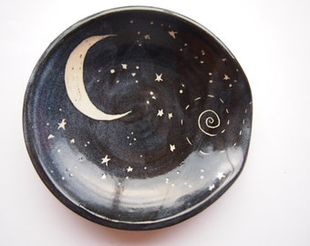 Spoon rest black with starry night design -  chef cooking utensil