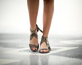 Sale 20% Leather Sandals, Grey Heels Sandals, Handmade Sandals, Grey Summer Shoes, Strappy Sandals, Women Shoes, Tie Sandals, Isabelle