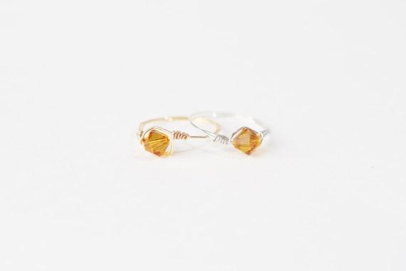 November Birthstone Ring-Swarovski Crystal Birthstone Ring-November Birthstone Crystal Bead Ring-Silver Birthstone Ring-Gold Birthstone Ring