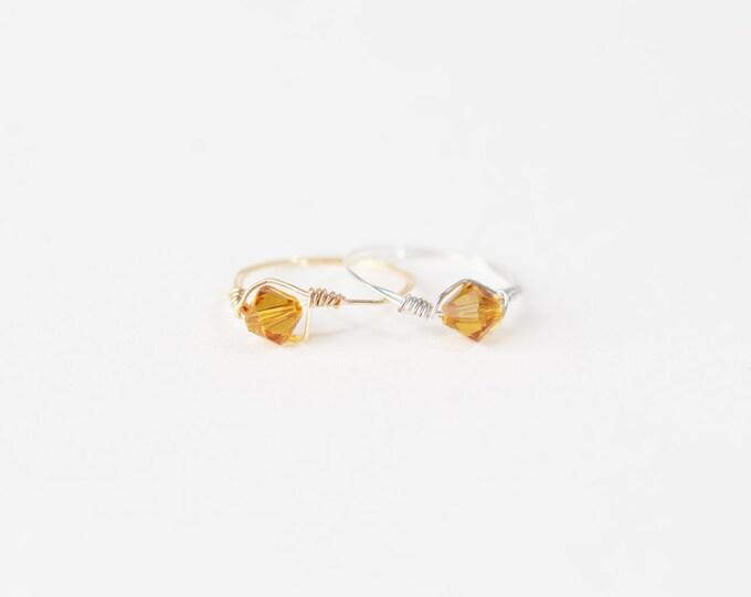 November Swarovski Crystal Birthstone Ring
