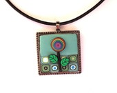 Polymer Clay Necklace, Abstract  Flower Pendant