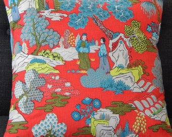 """Asian Barkcloth Pillow Cover """"Chippendale"""" Chinoiserie 1930's-1940's"""