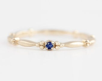 Tiny blue sapphire solitaire ring, 14k gold, rose gold, white gold, blue sapphire stack rings, blue sapphire stacking ring, stack-r106-bsap
