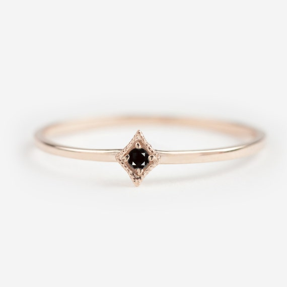 Tiny black diamond ring black diamond engagement by for Tiny wedding ring