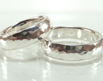 Wedding rings set sterling silver, forged, glossy, incl. engraving, partner rings, wedding rings, wedding rings - handmade by SILVERLOUNGE