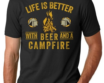 Beer T-shirt Campfire Summer fishing hunting outdoor activities Tee shirt