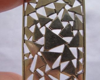 Vintage Modernist Sterling Silver Geometric Cutout Pendant