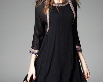 Mulberry silk dress,High-end Elegant dress,female dress,summer dress,party dress,women dress black dress - Women Clothing R798