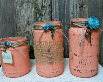 Wedding Centerpieces, Shabby Chic Jars, Coral, Glass Jars,  Glass Wedding Jars, RobinsStudio, Shabby Chic, Country, Wedding, Rustic, Cottage