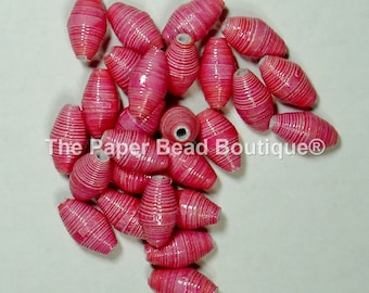 Paper Beads, Loose Handmade Craft Supplies Jewelry Supplies Barrel Pink Prism