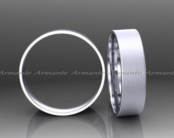 6.00mm Wide Wedding Band, Solid Gold Wedding Ring, Brushed Finish 14k White Gold Wedding Band, Hand Made Wedding Band.