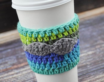 Mustache- Coffee Cup Sleeve- Reusable- Blue- Green