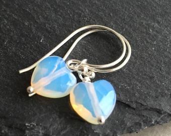 Opalite Earrings, Opalite Heart, Heart Earrings, Sterling Silver, Sterling Earrings