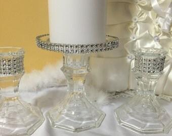 unity candle holder -  unity candle -  wedding centerpiece -  ceremony - candle holer - bling wedding - rhinestone