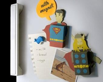 Superheroes fridge magnet emotibox, funny greeting card, birthday wishes, batman card, wolverine card, superhero card, superhero gift