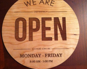 Laser Engraved Custom Open/ Closed business Sign