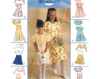 McCalls Sewing Pattern 9186 Girl's lined Bolero, Dress    Size:  CD  2-3-4  or  CF 4-5-6  Uncut