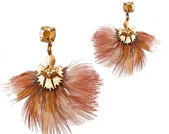 Earrings Orange pheasant feathers - birds of paradise
