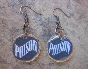wine cork earrings wine corks poison earrings witch jewelry black & white earrings dangle drop earrings Halloween earrings round earrings