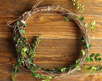 Rattan Wicker flower crown green leaves green/red berries hair wreath flower crown bridal head piece floral crown Bridal Floral hair wreath