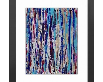 Silver Streak Art Print. Modern Art, Abstract Painting, Striped Print, Silver Home Decor, Striped Home Decor, Knife Painting, Blue, Purple